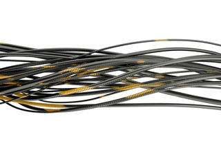 Glowing cables isolated on white background. 3d illustration.