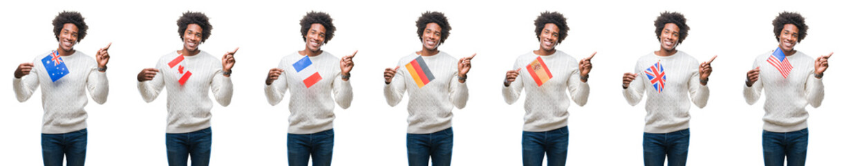 Collage of african american young  man holding flags of countries over isolated background very happy pointing with hand and finger to the side