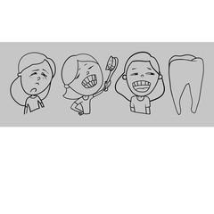 A set of drawings, healthy teeth in children, beautiful smiles