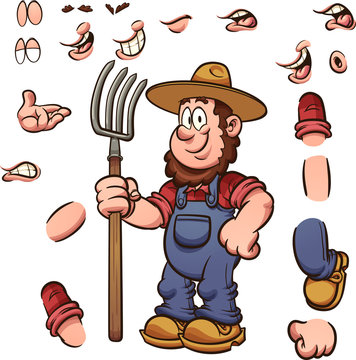 Cartoon farmer with different expressions holding a pitchfork. Vector clip art illustration with simple gradients. Some elements on separate layers.