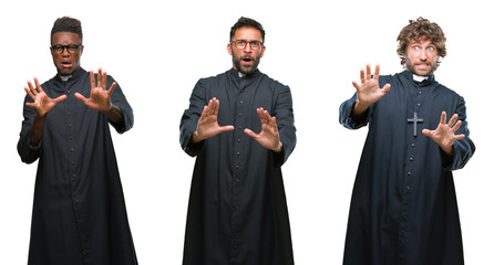 Collage of christian priest men over isolated background afraid and terrified with fear expression stop gesture with hands, shouting in shock. Panic concept.
