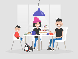 Young family sitting at the dining table. Desserts and tea. Daily life / flat editable vector illustration, clip art