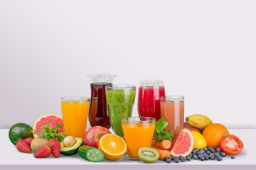 Tasty fruits and juice with vitamins