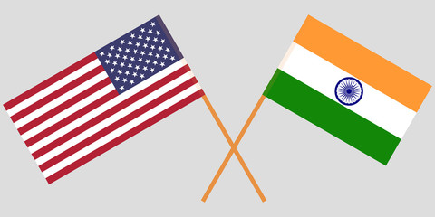 USA and India. American and Indian flags. Official colors. Correct proportion. Vector