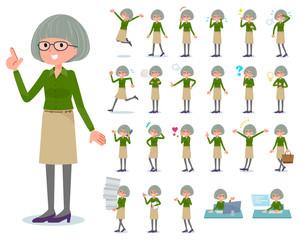 flat type green shirt old women_emotion