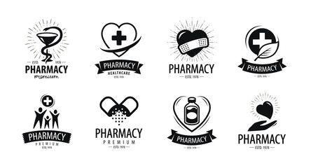 Drugstore, pharmacy logo or label. Medicine, health, hospital symbol. Vector illustration
