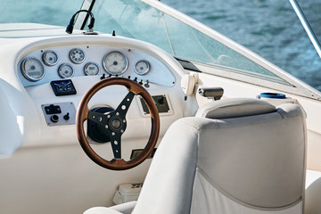 Sailing yacht steering wheel.