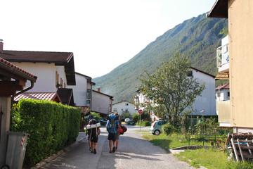 Slovenia. Slovenian Alps. Road and mountain views. Walk in Kobarid.