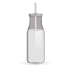Traditional milk bottle vector illustration. Milk bottle with straw isolated on white background. Glass milk bottle with stripped straw.