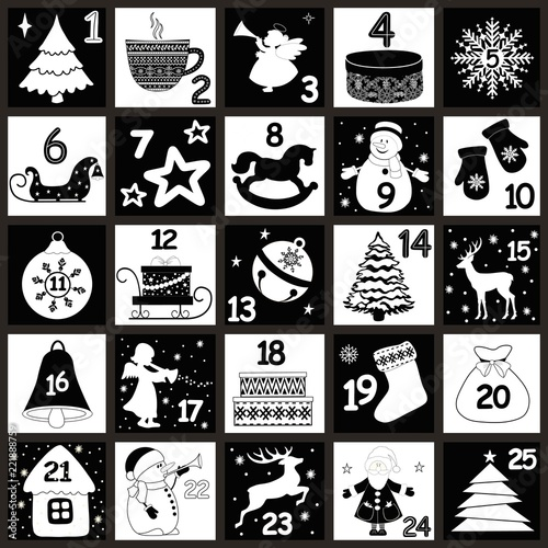 Christmas Advent Calendar With Christmas Symbols Stock Image And