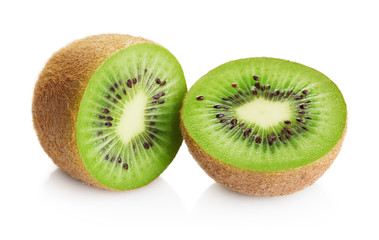 Wall Mural - two halves of ripe kiwi fruit isolated on white background