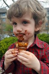 Boy eating ice cream