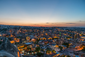 Panoramic view of Goreme in twilight