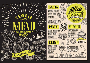 Vegetarian menu for restaurant. Vector food flyer for bar and cafe. Design template with food hand-drawn graphic illustrations.
