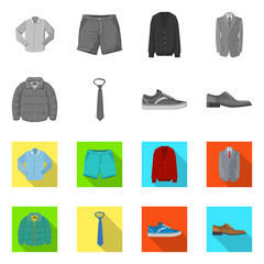 Vector design of man and clothing icon. Collection of man and wear vector icon for stock.