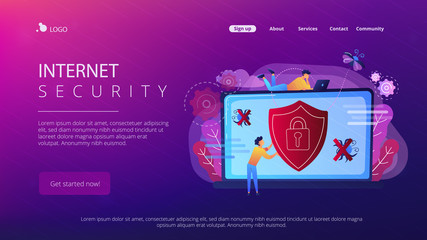 A man before laptop with shield and lock on the screen. Anti virus software, anti-malware, spyware, trojan, adware as internet security concept. Violet palette.Website landing web page.