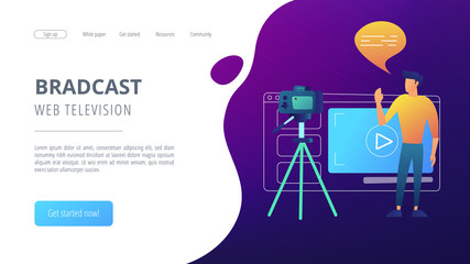 A man in front of camera recording a video to share it in internet. Vloger shares a bradcast in blog or video log. Video bloging, web television or embedded video concept. Website landing web page.