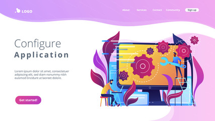 People configure the application on the big LCD screen with gears. Back end development it concept. Software development process. Violet palette. Back-end concept. Website landing web page template.