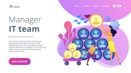 People building career pyramid with chief executive officer CEO on the top. Highest ranking manager, managing director in the IT company. IT team management concept. Website landing web page template.
