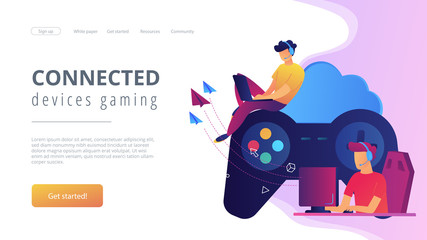Two gamers playing computer connected with joystick. Gaming on demand, video and file streaming, cloud technology, various devices gaming concept, violet palette. Website landing web page template.