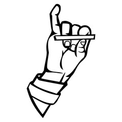 Isolated vector illustration. Human hand holding a cigarette. Hand drawn linear sketch. Black silhouette on white background.