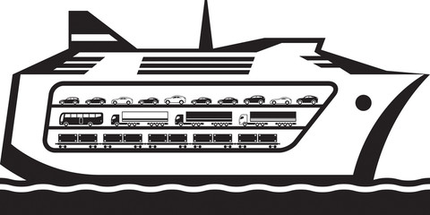 Ferry boat transports vehicles across the sea - vector illustration