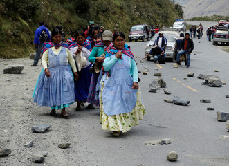 Women walk trough a blocked road between La Paz and Los Yungas region during coca growers' protest against the government in Unduavi