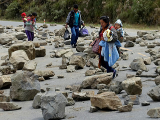 Travelers walk trough a blocked road between La Paz and Los Yungas region during coca growers' protest against the government in Unduavi