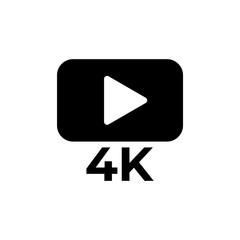 4K icon, logo on white background