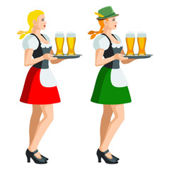 Two isolated figures of Oktoberfest girls in Bavarian folk costumes holding a tray of beer glasses