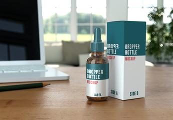 Dropper Bottle on Desk Mockup