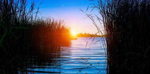 Photo of nature around beautiful blue lake, fishing place