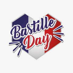 bastille day celebration card with heart and flag