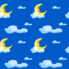 Seamless pattern with moon, cloud and stars.