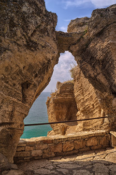 Rocky Black Sea coast. View from Historical cape Kaliakra at Black Sea coast near Varna, Bulgaria