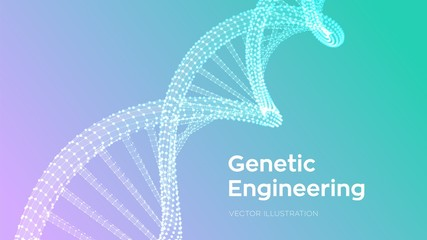 DNA sequence. Wireframe DNA molecules structure mesh. DNA code editable template. Science and Technology concept. Vector illustration.