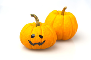 Halloween pumpkins on white background