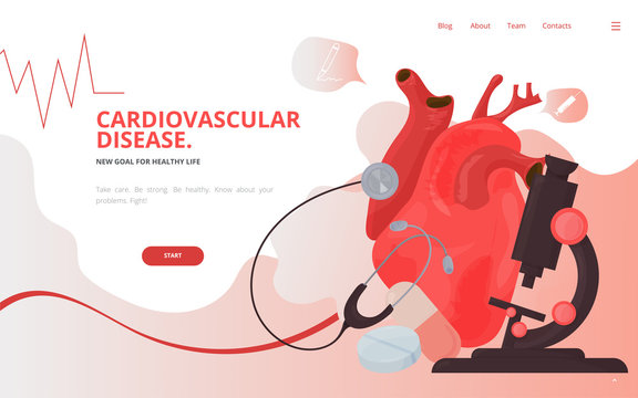 Cardiovascular heart diagnostics concept vector illustration. Heart tests or Cardiology diagnostics site landing page wireframe. Cardiology conference report presentation or banner template.