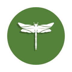 dragonfly icon in badge style. One of insects collection icon can be used for UI, UX