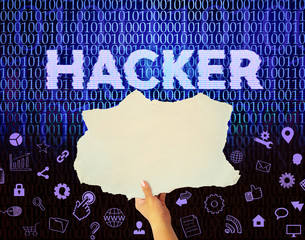 hacker, hands holding blank paper
