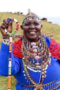 Smiling Maasai woman