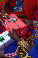 Maasai exchanging gifts
