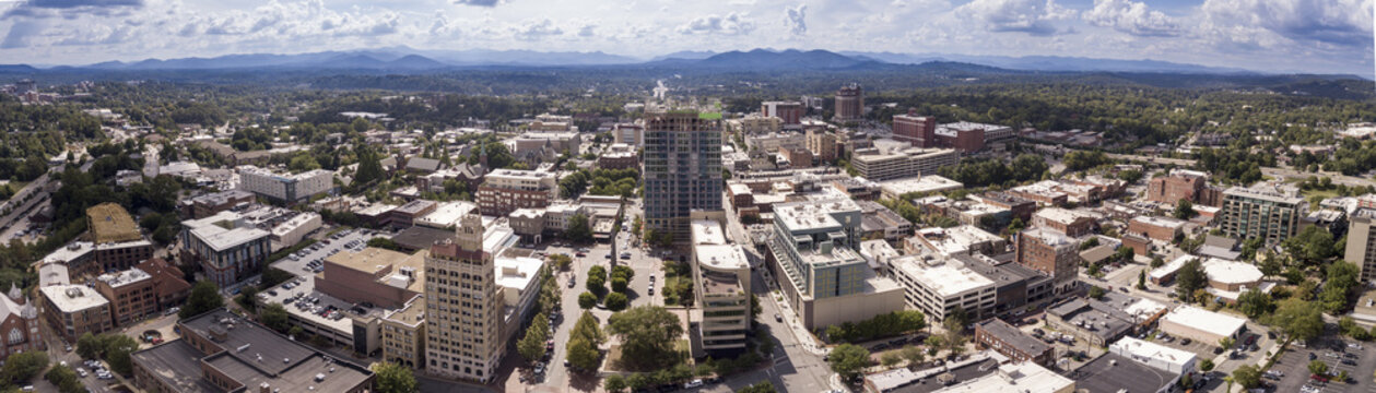 Aerial 180 degree panorama of Asheville, North Carolina downtown area.
