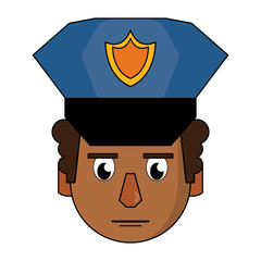 Police face cartoon colorful