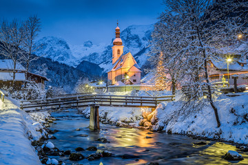 Photo Blinds Europa Church of Ramsau in winter twilight, Bavaria, Germany