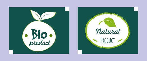 colorful organic food logo collection