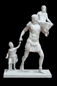 Aeneas sculptorical group. Resin 3d reconstruction