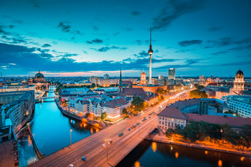 Berlin skyline with Spree river at twilight, Germany