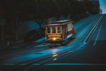 Historic San Francisco Cable Car on California Street at twilight, California, USA