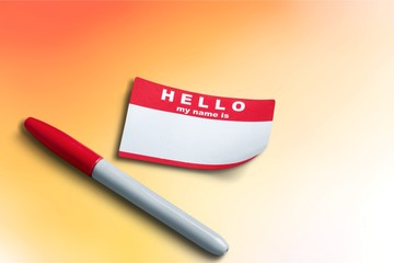 Red Hello My Name Is Tag and pen